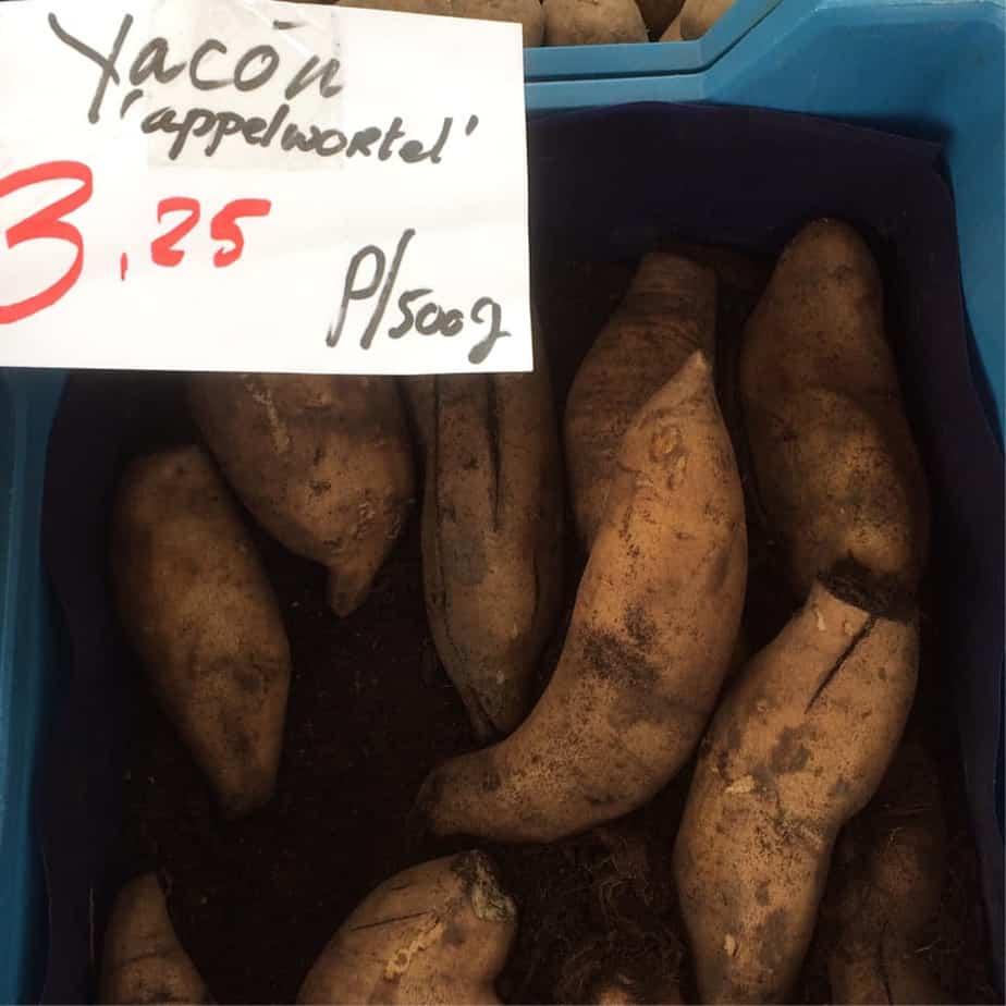 yacons op de biomarkt, heerlijk in een ovengerecht