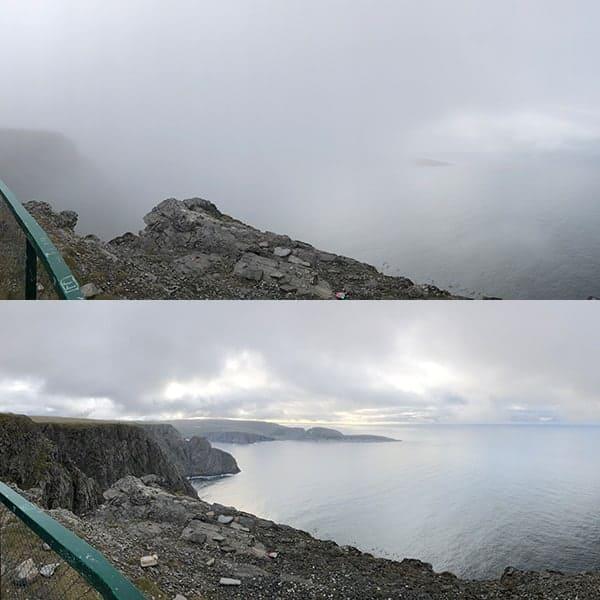Twee uitzichten vanaf de Noordkaap; de bovenste met wolk, de onderste enigszins opgeklaard