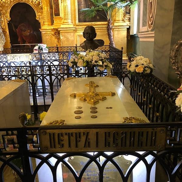 Het graf van Peter de Grote in St.Petersburg