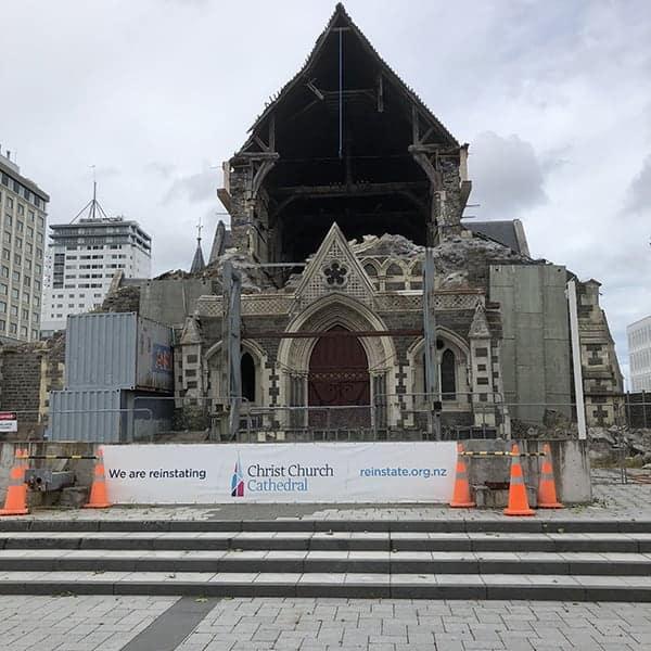 Christchurch op het Zuidereiland van Nieuw Zeeland ligt nog steeds in puin
