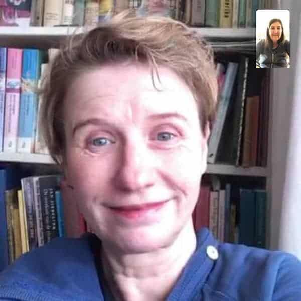 Pépé Smit tijdens onze videocall. Haar 5e prentenboek Fred en de Rare Vogel komt uit