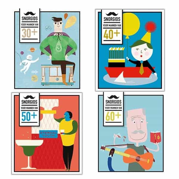vier verschillende snorgidsen voor mannen