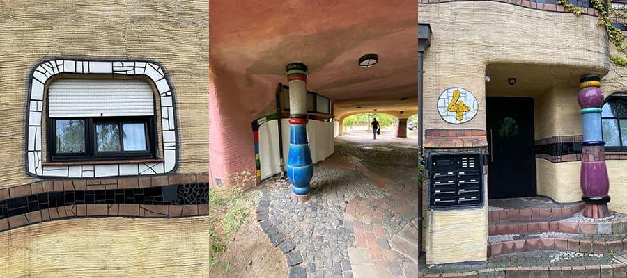 Inzoomen op het gebouw van architect Hundertwasser in Darmstadt