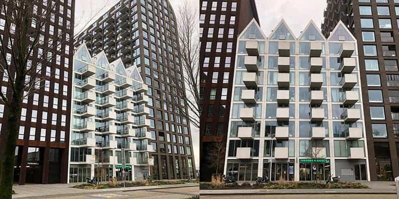 nieuwe flitsende gebouwen in Amsterdam Noord
