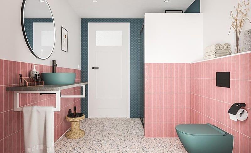 Een retro badkamer met een ronde badkamerspiegel