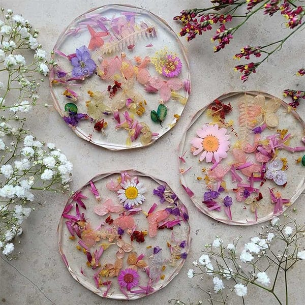 Prachtige droogbloemen onderzetters